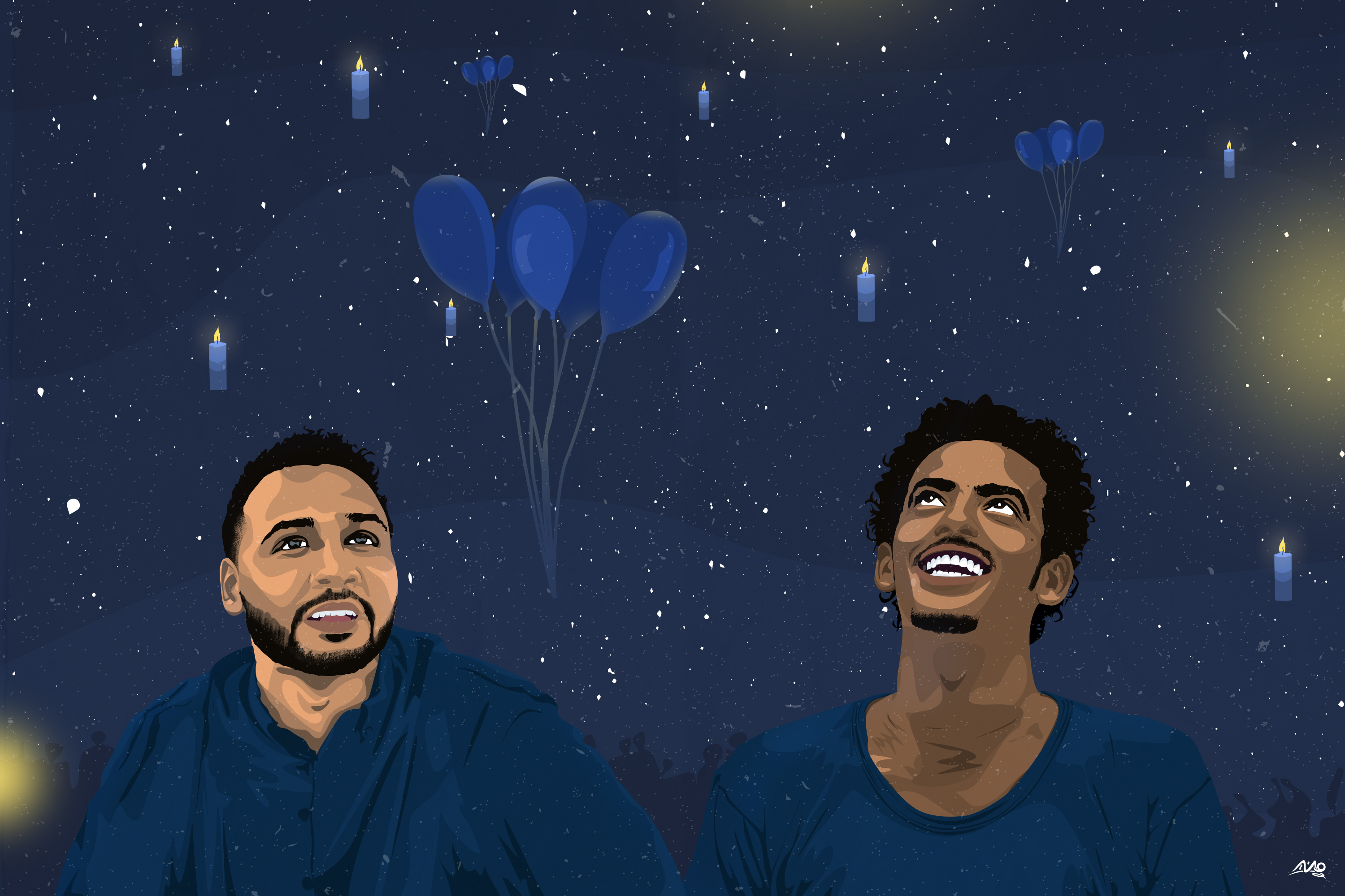 Mounir Khalil Blue Martyrs - smiling Mohamed Mattar and Abdelsalam Kisha surrounded by balloons and stars