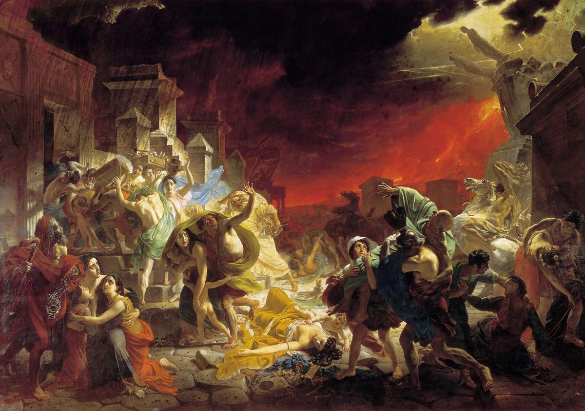 Karl Briullov - Last Day of Pompei painting (1833) The Mantle